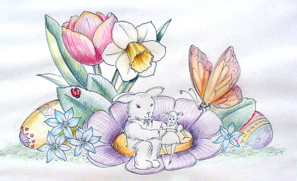 EASTER SET WITH BUNNY DRAWING